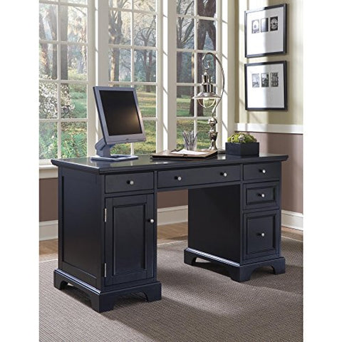 Modern Transitional Black Wood Pedestal Executive Writing Desk with 2 Utility and 1 File Drawer