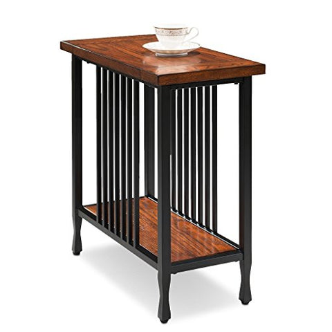 Modern Industrial Narrow Accent Side Table with Lower Shelf and Slatted Metal Base