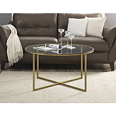 Modern 36 Inch Round Coffee Table With Metal Frame And X Gold Base Glass