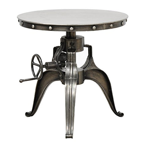 Modern 22-inch Crank Adjustable Table with Iron and Wood Construction