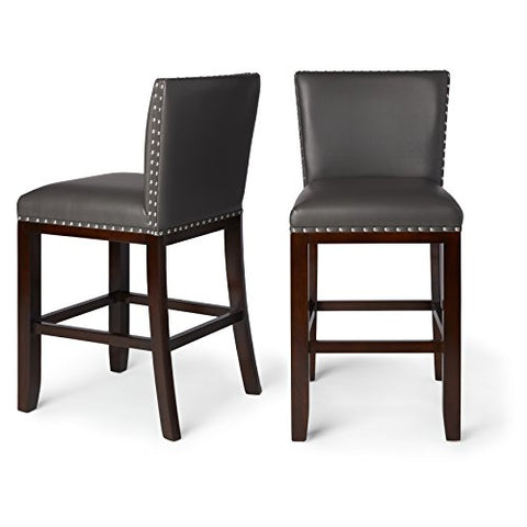 Contemporary Transitional Faux Leather Upholstery Set of 2 24 Inch Counter Stool with Nailheads and Solid Wood Legs (Gray)