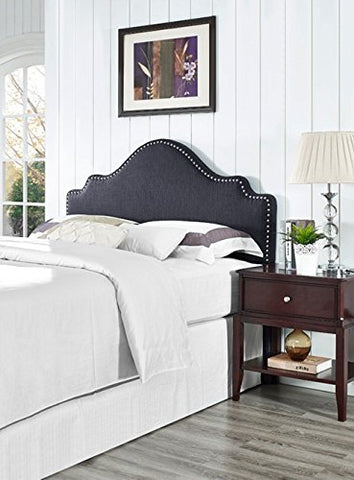 Modern Arch Upholstered Padded Dark Gray-Black Linen Fabric Queen Headboard with Nailheads