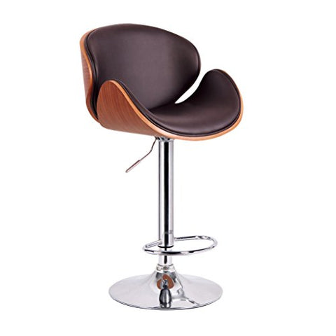 Mid Century Modern Retro Vintage Molded Plywood Brown Adjustable Swiveling Bar Stool with Chrome Base PREMIUM QUALITY