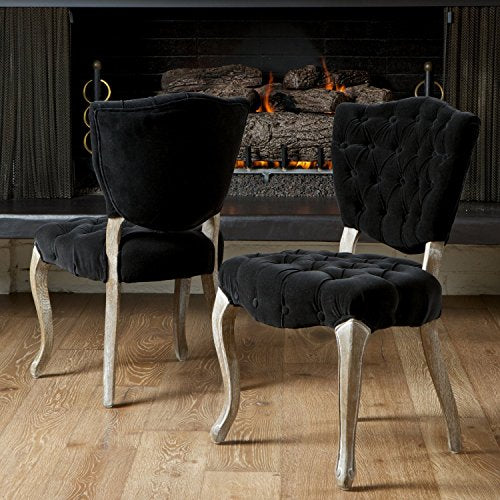 French Retro Modern Style Black Velvet Button Tufted Chair with Reclaimed Look Carved Oak Wood Cabriole Legs (Set of 2)