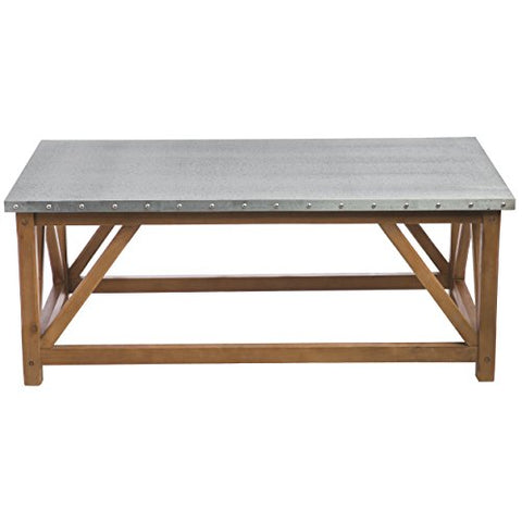 Superbe Modern Rustic Distressed Zinc Top Cocktail Coffee Table With Nailhead And  Wood Legs