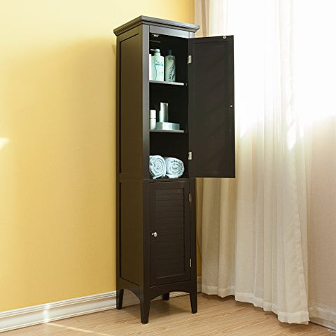 Modern Espresso Wood Crown Molded Top 2 Door Linen Tower Storage Cabinet with 4 Shelves and Shaker Legs