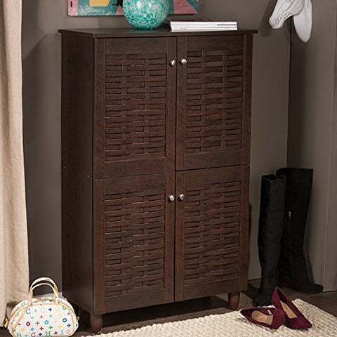 Contemporary Wood Stripped Pattern 4 Door Shoe Cabinet with Six Shelves in Brown Finish