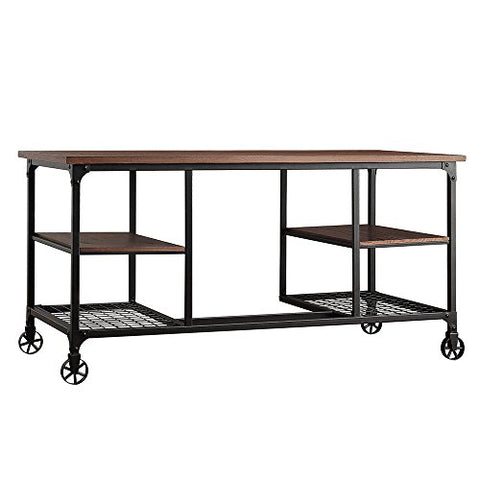 Industrial Rustic Storage Writing Desk with 4 Shelves and Wood Topped Upper Shelf