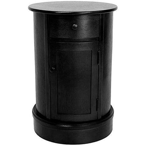 Modern Living Room Narrow Nightstand Oval 26-inch Wooden Black Chairside  Table with Storage Cabinets