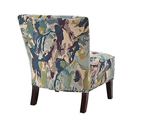 Contemporary Purple Green Blue Abstract Print Upholstered