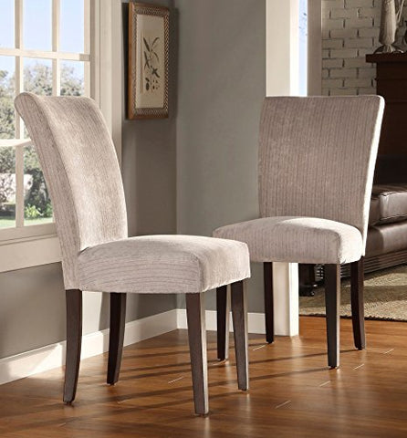 Modern Light Gray Chenille Fabric Parsons Style Dining Side Chairs | Wooden Brown Tapered Legs - Set of 2