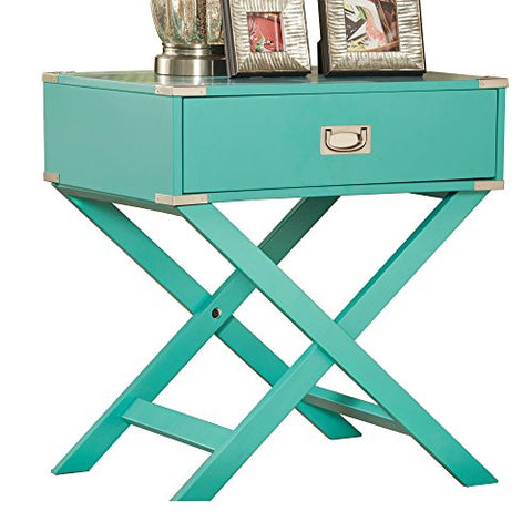 ModHaus Teal Green Accent Table with Drawer | Modern Rectangular Shaped with X Base| Wood Finish