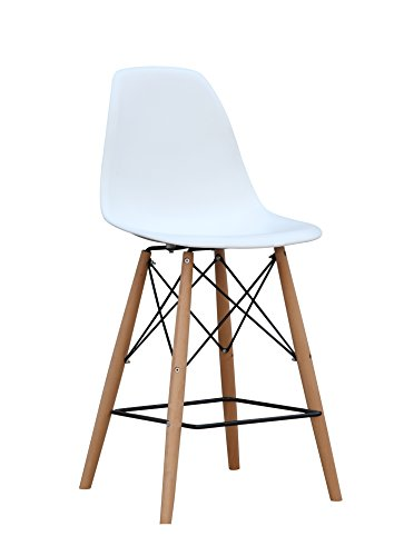 ModHaus Mid Century Modern Eames DSW Style White Counter Stool with Dowel Wood Base Nice HIGH QUALITY Satin Finish