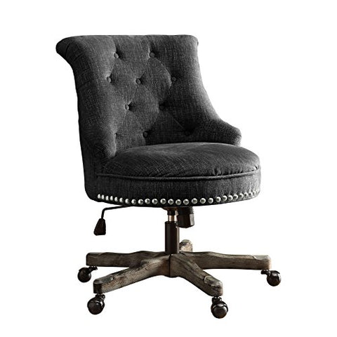 Contemporary Pine Wood Button Tufted Upholstered Rolled Back Office Task Chair with Nailheads Accent and 5 Castor Wheels