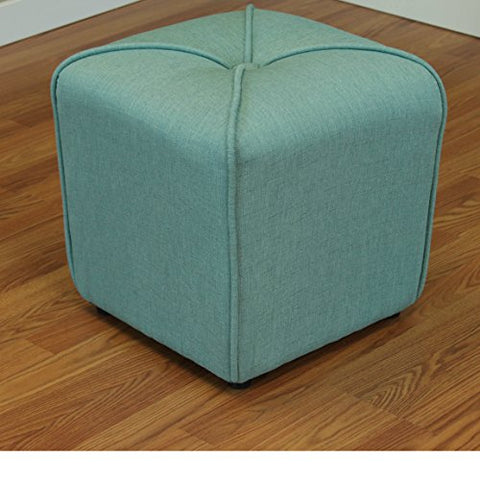 Astounding Modern Linen Upholstered Footstool Ottoman With Thick Foam Sea Green Squirreltailoven Fun Painted Chair Ideas Images Squirreltailovenorg