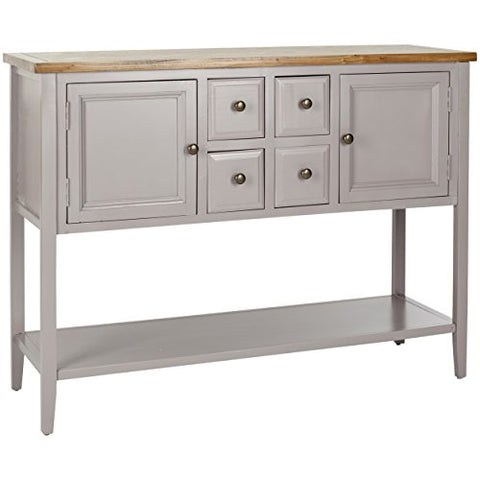 Contemporary Gray Wood Storage Sideboard Console with 4 Drawers 2 Cabinets and Shelf