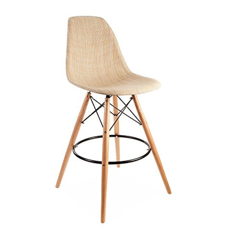 ModHaus Mid Century Modern Eames DSW Style Natural Tan Woven Counter Stool with Dowel Wood Base HIGH QUALITY