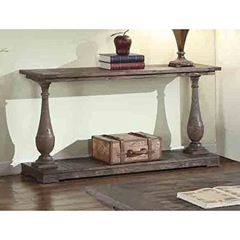 Modern Rustic Wood Console Sofa Table with Bottom Shelf