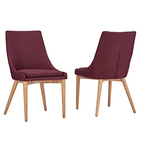 Mid Century Modern Linen Upholstered Barrel Back Side Chair with Oak Wood Finish Sloped Legs Set of 2 (Red)