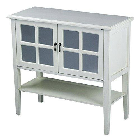 Cottage Style Double-Door Wooden Console Cabinet with 4-Pane Mirror Insert and Bottom Shelf