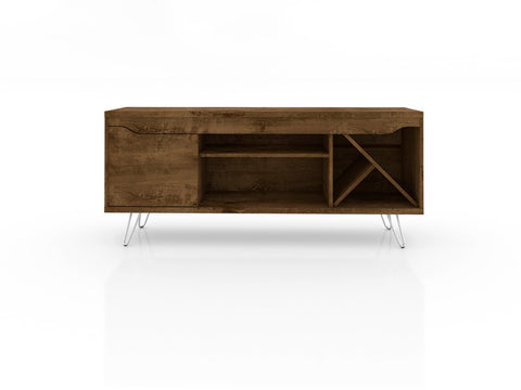 Modern TV Stand with Wine Rack and  Splayed Metal Legs in Rustic Brown