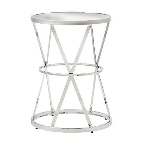 Modern Silver Side Table | End Table with Mirror Top