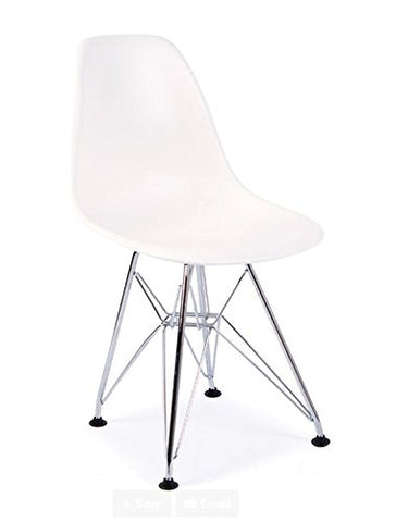 Mid Century Modern CHILDREN KIDS White DSR Chair with Eiffel Chrome Steel Base - Inpired by Eames Design - HIGH QUALITY Matte Finish