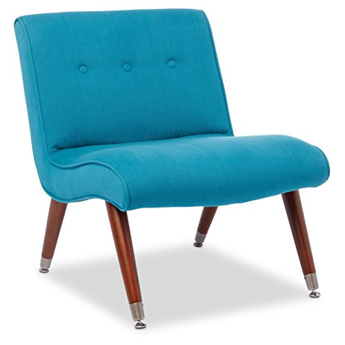 Mid Century Accent Armless Chair Teal Upholstered with Brown Solid Wood Legs