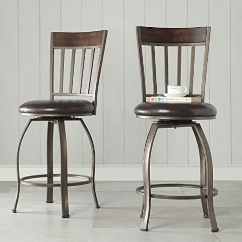 Astonishing Rustic Bronze Swivel Metal Kitchen Stools Counter Height With Back And Dark Brown Faux Leather Seat Set Of 2 Machost Co Dining Chair Design Ideas Machostcouk