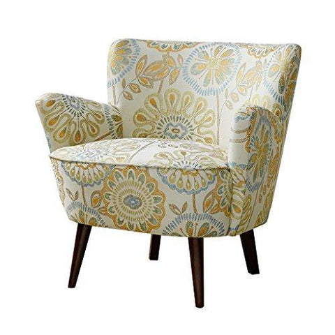 Mid Century Retro Style Yellow and Blue Floral Print Upholstered Accent Armchair with Tapered Espresso Wood Legs