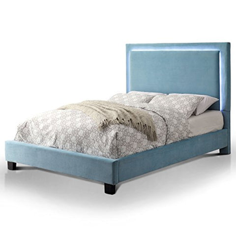 Contemporary Blue Plush Flannelette Upholstery Platform Bed with Led Light Trim Along Headboard and Block Wood Legs Finished in Black (Queen)