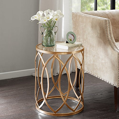 Modern Transitional Round Glass Table Top Accent Table with Geometric Base (Gold)