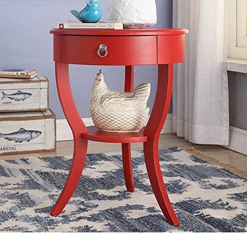 Modern Wood Accent Nightstand End Sofa Table Round Shaped with Storage Drawer and Bottom Shelf - (Red)