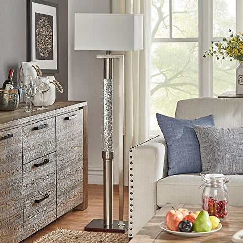 Modern Satin Nickel Floor Lamp with Dancing Water Feature and White Shade