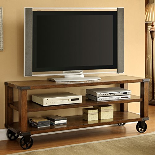 Modern Industrial Rustic Oak 2-Shelves Rectangle Shaped Wooden Framed Rolling TV Stand Media Console | Living Room Decor | for Televisions up to 60 inches