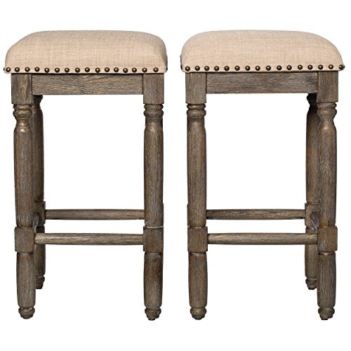 Pleasant Modern Rustic Style 26 Inch Reclaimed Wood Look Backless Counter Height Bar Stools With Beige Upholstery Seats Brown Wood Finish Set Of 2 Pabps2019 Chair Design Images Pabps2019Com