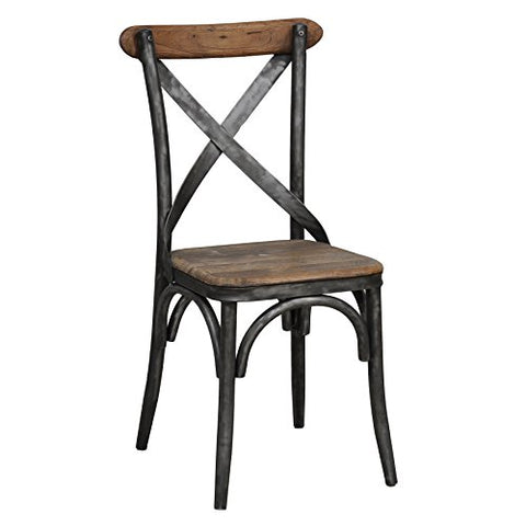 Industrial Rustic Distressed Reclaimed Pine Brown Wood Crossed Back Accent Side Chair with Steel Legs