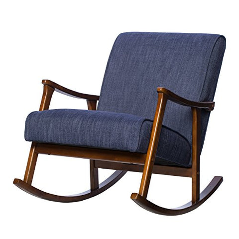 Mid Century Retro Wood Blue Fabric Upholstery Rocking Arm Chair with Solid Wood Frame in Walnut Finish