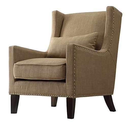 Contemporary Tan Linen Upholstered Accent Wingback Chair with Silver Nailhead Detail & Accent Pillow