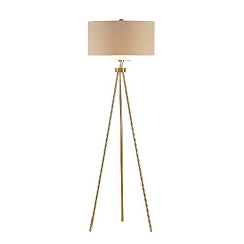 Modern Tripod Floor Lamp with Gold Metal Base and White Linen Fabric Shade