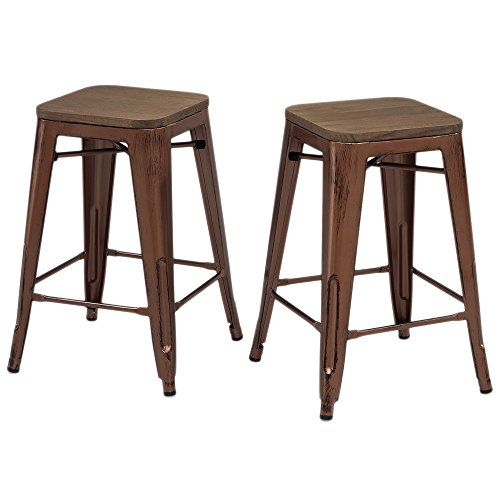 Set of 2 Antique Copper Tolix Style Metal Counter Stools with Wood Seat in Glossy Powder Coated Finish