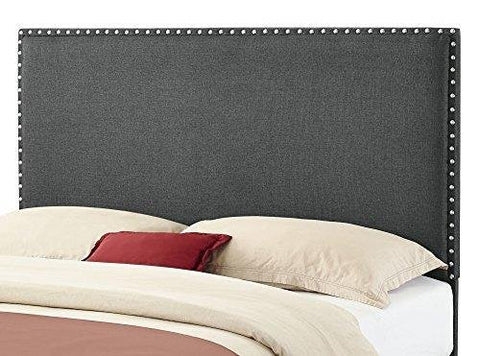 Modern Upholstered Padded Dark Gray Linen Fabric Queen Headboard with Nailheads