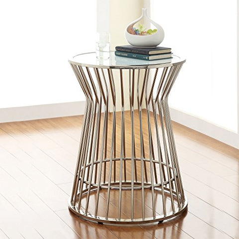 ModHaus Living Mid Century Modern Platner Style Chrome Silver Metal Accent Stool Side End Table with Frosted Glass Top