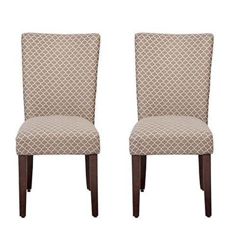 Modern Dining Parsons Style Chairs in Mocha with Quatrefoil Lattice Pattern Upholstery - Set of 2