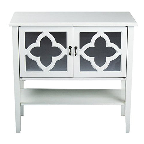 Contemporary Style Double-Door Wooden Console Cabinet with 4-Pane Clover Mirror Insert and Bottom Shelf Home Decor (Antique White)
