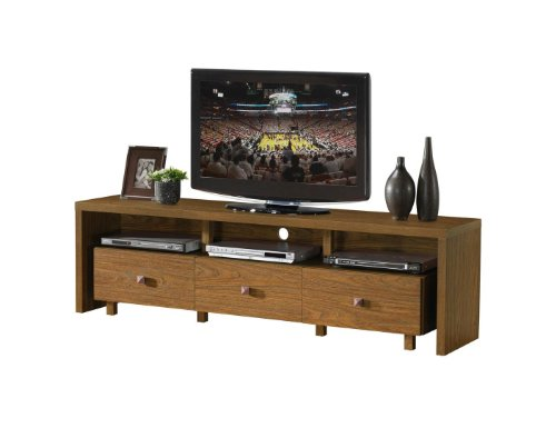 Modern Italian Style Walnut TV Media Stand for 70'' TVs with 3 Storage Drawers