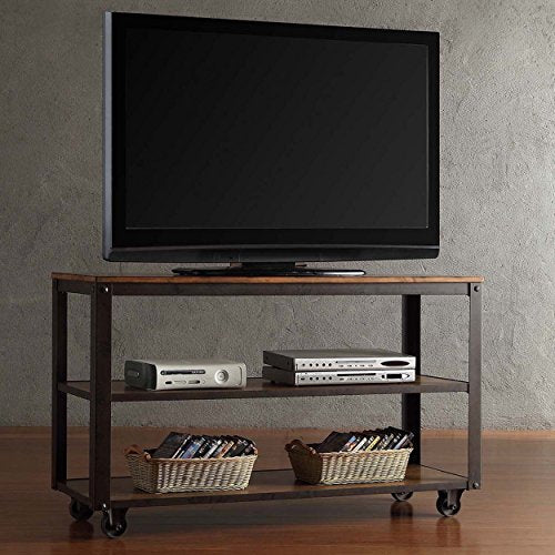 Modern Industrial Style Brown Rustic 3-Tier Rectangle Shaped Vintage TV Stand Media Console