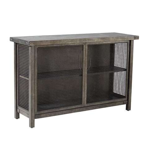 Industrial Rustic Metal Wire Mesh Sideboard Buffet Console Table with Concrete Top