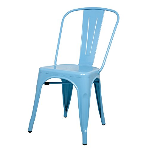 ModHaus Light Blue Xavier Pauchard Tolix A Style Chair in Powder Coat Finish Galvanized Steel Metal Stackable