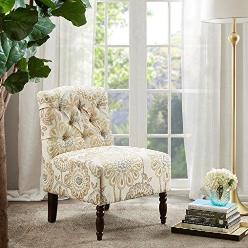 Contemporary Beige Floral Print Upholstered Deep Button Tufted Accent Armchair with Dark Wood Legs